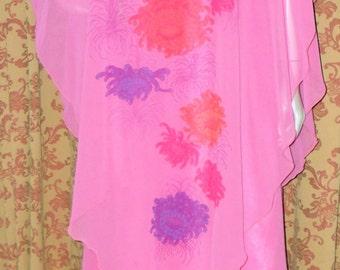 1970s Pink Chrrysanthemum Layered Maxi Dress (280)