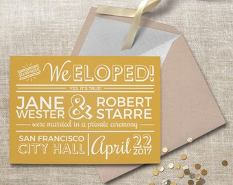 Elopement announcement. Surprise courthouse wedding announcement, retro and vintage style. #63