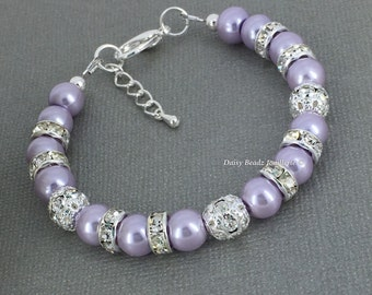 Lilac Pearl Bracelet, Lilac Bracelet, Bridesmaid Gift, Light Purple Bracelet, Bridesmaids Bracelet, Lilac Wedding, Wedding