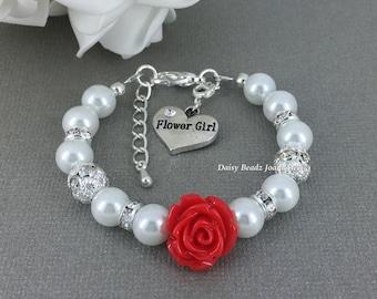 Flower Girl Bracelet Red Flower Bracelet White Pearl Bracelet Flower Girl Jewelry Flower Girl Gift from Bride Girl's Jewelry Child Bracelet