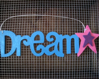 Dream and Star Wall Hanging Sign Plaque Turquoise Blue