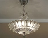 "Antique Chandelier 1930-40's Vintage Frosted & Clear Pressed Glass Ceiling Light Fixture Large 15"" Rewired"