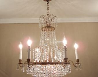 Vintage SCANDINAVIAN Empire Chandelier, Original Early Mid-Century Modern, Tiered Beaded Crystal & Solid Brass 12 Light Fixture - Restored