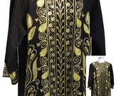 Vintage Caftan in Black with Yellow Embroidery - Fits Size Small to Medium