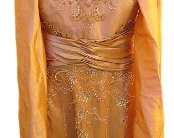 Formal Evening Gown in Gold Satin Fabric with Beaded Bodice and Gathered Waist / 1970s /  Includes Matching Shoulder Wrap - Fits Size XLarge