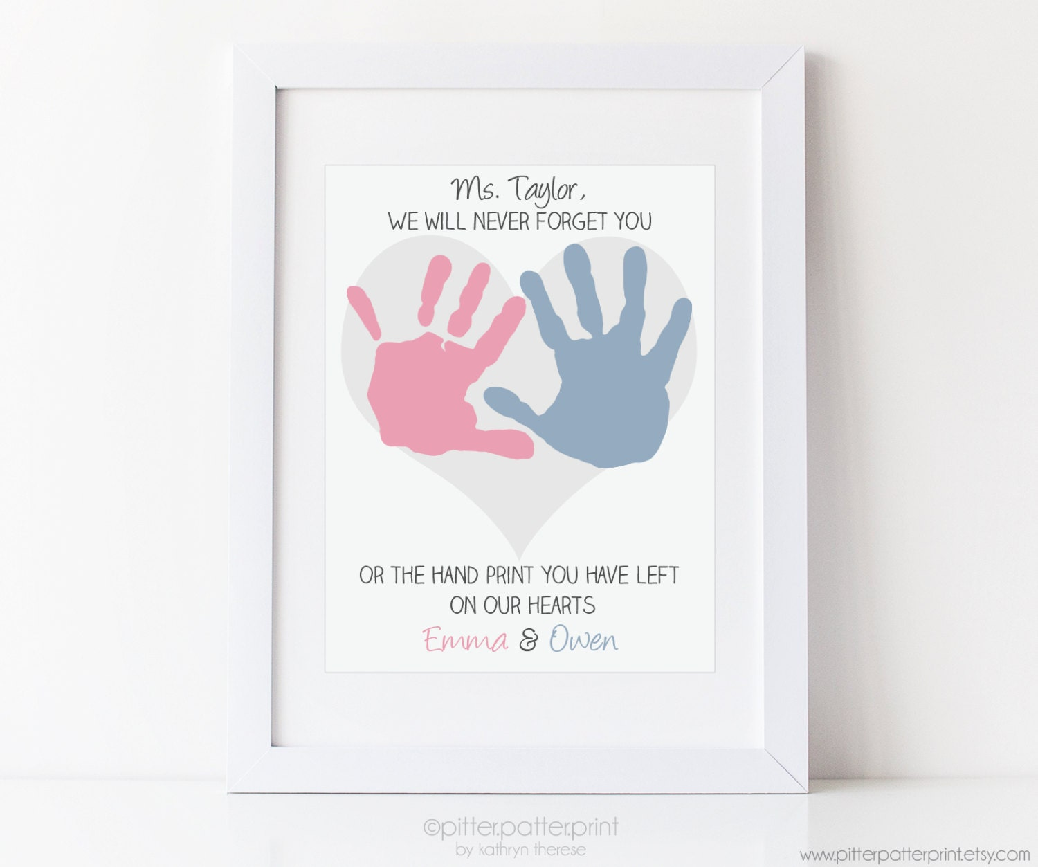 Teacher Gift For Nanny Daycare Babysitter Handprint Flower Heart