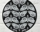 Large Circular Screen Printed Death Head Moth Sew on Back Patch
