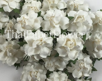 25 White Small Mulberry Paper flower roses DIY scrapbook card making home decor wedding craft supply 19/15