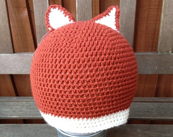 Fox crochet beanie hat with ears child size 4-10 years