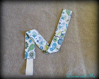 Sippy Cup Leash For Baby and Toddler Girls/Boys- Bright Blue/Green Paisley Floral Design