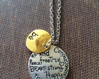 Word Necklace - Word Necklace in Handmade - Word Jewelry - Be Happy - Word Jewelry in Handmade - Two Tone Necklace - Two Tone Jewelry