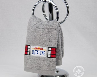 "Back to the Future ""OUTATIME"" License Plate Inspired - Embroidered Hand Towel"