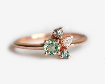 Tiny Cluster Ring, Small Cluster Ring, Tourmaline Ring, Tourmaline Diamond Ring, Mini Cluster Ring, Mini Birthstone Ring