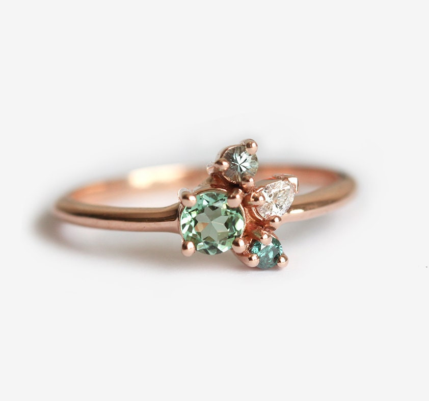Cluster Bands: Tiny Cluster Ring Small Cluster Ring Tourmaline Ring