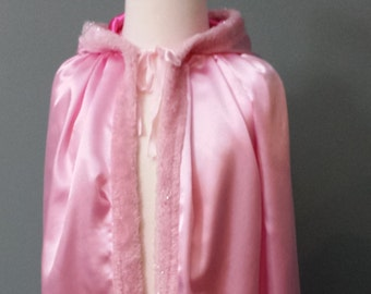 Light Pink Princess Costume Cape with Hood (Fur Trimmed)