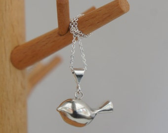 Little bird pendant - sterling silver minimal, animal lover, everyday, woodland wedding bridesmaid gift mothers day jewelry