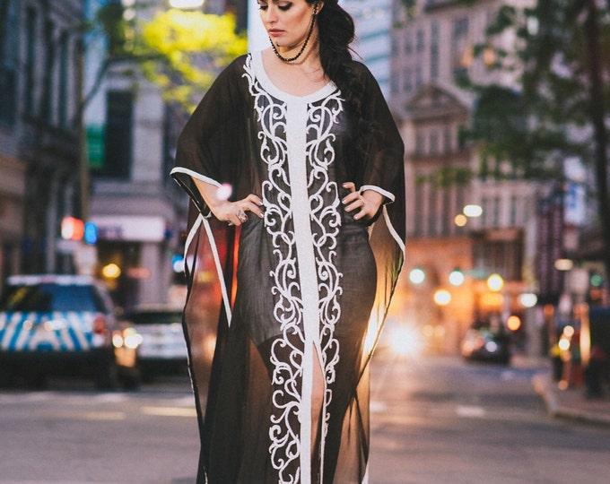 """Yara Yosif  """"Anood"""" embellished silk kaftan caftan abaya maxi eid henna Dubai"""