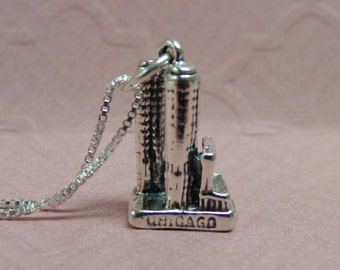 Sterling Silver Chicago Marina City Necklace