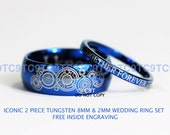 BLUE Doctor Who Inspired His 8mm Tungsten and Hers 2mm Tungsten Ring Set, Custom Engraved
