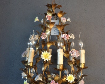 Beautiful old golden tole flower chandelier with porcelain flowers and roses