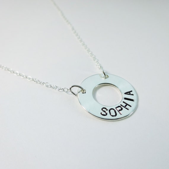Silver Circle Personalized Necklace
