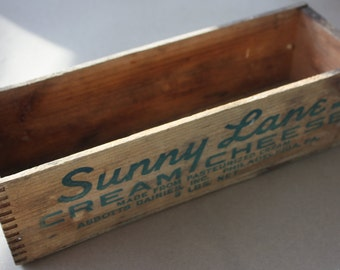 Sunny Lane Brand Cream Cheese, Abbott's Dairies Wooden Box