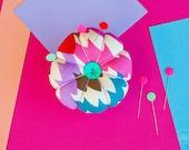 Flower Pin Cushion - Multi Coloured