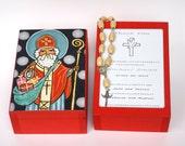 Saint Nicholas box St Nicholas keepsake box Santa Claus box St Nick Christmas box Treasure box Christmas decorations Children patron saint