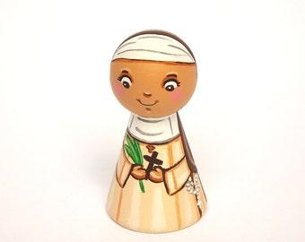 Saint Marie Amandine peg doll St Marie peg doll Nun doll Catholic saint doll Patron saint Girl baptism gift for goddaughter Christening gift