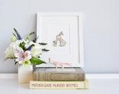 Bunny picture, UNFRAMED Rabbit illustration, Kid's wall decor, Unisex nursery, Childrens decor, Classic kid's Art, Neutral Nursery Gift