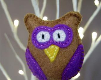 Purple Felt Owl, felt owl brooch, owl brooch, felt owl, felt brooch, fabric owl brooch, woodland owl, felt owl jewellery - By Tamara Harris
