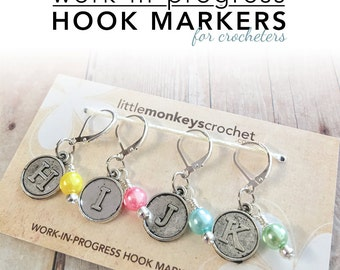 Crochet Hook Markers, WIP Hook Markers, Crochet Stitch Markers by Little Monkeys Crochet | Work-In-Progress Hook & Stitch Markers
