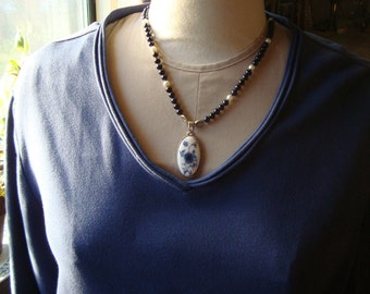 Victorian Necklace of Blue and White with Chinoise Pendant - Art Nouveau, Edwardian, Flower, Blue, Romantic, Willowware, Toile, Fairy Tale
