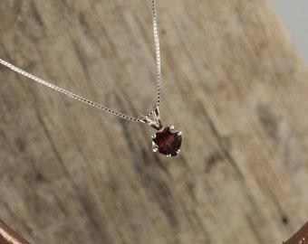 Red Garnet Heart Pendant/Necklace Sterling Silver Pendant/Necklace - Sterling Silver Setting with a 6mm Red Garnet Heart