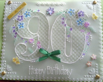 90,80,70, 60, 50 Birthday - Any Number can be added. Parchment Craft. Flowers, bows, anniversary,