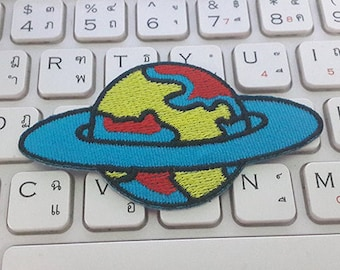 Saturn Iron on Patch - Saturn Applique Embroidered Iron on Patch