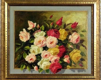 Exquisite ca.1930 Impressionist Roses Oil Painting on Canvas w/Frame Signed