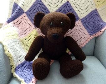 Second SALE - Dark Brown Teddy Bear, Hand Knit, Children's Stuffed Toy, Soft Plush, Baby Shower, Nursery Decor, Heirloom Baby Gift