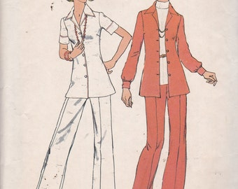 Simplicity 6790 Vintage Pattern Womens Button Up Shirt and Pants SIze 14