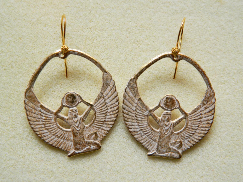 Gold Goddess Hoops Isis Earrings Ancient Egypt Goddess