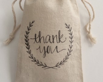Wreath Thank You 3x5 Muslin Wedding Favor Bags, Set of 50