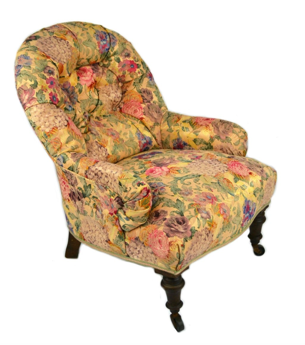 Overstuffed Floral Gold Chintz Mahogany Armchair Antique English Victorian 1860s Haute Juice