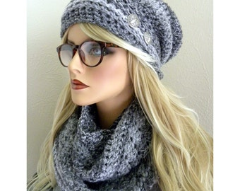 Gray Stripe Slouchy Hat, Gray Slouchy Beanie, Beanie with Buttons,  Winter Accessories, Gift for Women, Ready to ship