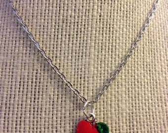 "14"" Silver Red Apple Necklace"