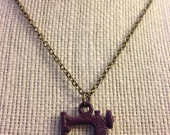 "18"" Maroon Sewing Machine Necklace"