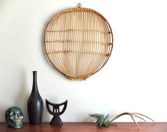 Large round bamboo tray / plate, 1960s