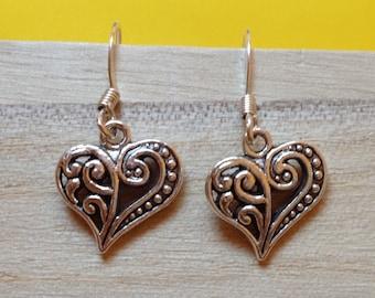 Silver heart earrings - Really cute heart earrings - Free Shipping - Heart earrings - Buy One = Give Clean Water