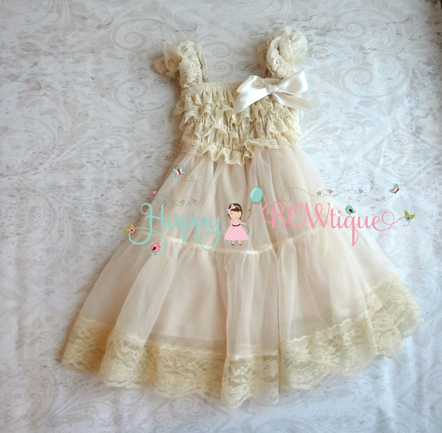 Flower girl dress Champagne Chiffon Lace by HappyBOWtique on Etsy