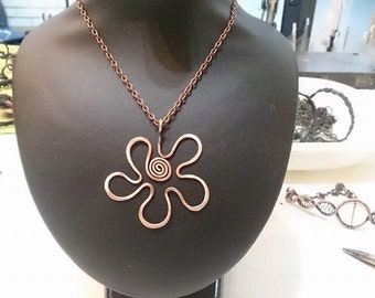 daisy necklace, flower necklace, bohemian jewelry copper jewelry bohemian pandant, copper wire jewelry, bridesmaid necklace, copper necklace