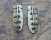 """Pendant Feathers """"Barn Owl Feathers"""" Porcelain by Laura Mears"""